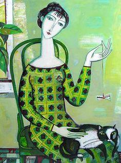 Illustration by Tatiana Gorshunova, 2007, Woman with a cat.