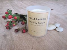 Violet & berries - Eco & Handmade Soy Candle      A decadent blend of berries featuring boysenberry, raspberry &     strawberry and an elaborate pairing with jasmin, French lilac with     traces of vanilla & cinnamon.  Handmade and poured with natural eco soy wax by Velvety in Bunyip,  Australia.  Our tumblers burn for approximately 33 hours and hold 165 gr of eco soy  wax.        * SHIPPING INFORMATION     * EMAIL ME WHEN BACK IN STOCK