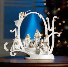 Lighted Joy Nativity Scene Holiday Sculpture Collections Etc Christmas Nativity Set, Christmas Scenes, All Things Christmas, Christmas Holidays, Xmas, Merry Christmas, Christmas Villages, Blue Christmas, Christmas Bells