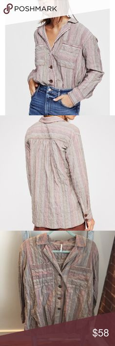 Free People  XS Crinkly High Tide Multi-Stripe Button Down Shirt Top Pink Sands