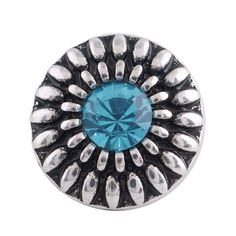 """Chunk Snap Charm 12mm Mini Petite Turquoise Stone 1/2"""" Diameter"""