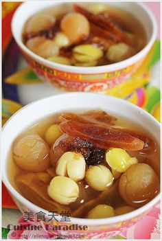 lotus seeds, longan and persimmon sweet soup....a Chinese New Year 'auspicious' dessert (quite tasty too, sometimes with a bit of coconut milk)