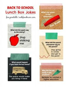 Back to School Lunch Box Jokes Free Printable
