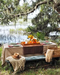 An Autumnal Table: Pumpkins, plush blankets and plaid tablecloths - Fashion Foie Gras Plaid Tablecloth, Plush Blankets, Plaid Blanket, Picnic Time, Outdoor Furniture Sets, Outdoor Decor, Tablecloths, Autumnal, Perfect Party