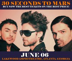 30 Seconds To Mars in Atlanta at Lakewood Amphitheatre on June 06. More about this event here https://www.facebook.com/events/780417852140672/