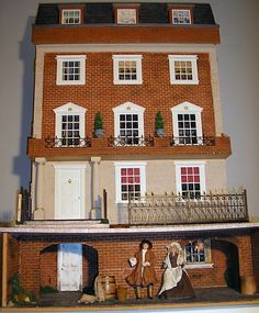 A view of the frontage (jt-this lovely Georgian style dolls house was made by Carol Anne - interior pinned alongside. click through for more pics)