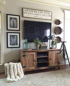 63 Marvelous Farmhouse Style Home Decor Ideas. TV console ideas