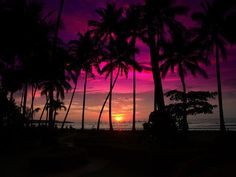 Shades of bright fushia & coral drape the horizon for the MOST gorgeous sunset on this beach...