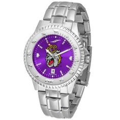"James Madison Dukes NCAA Anochrome ""Competitor"" Mens Watch (Steel Band) by SunTime. $93.99. Rotating Bezel. Color Coordinated. Calendar Date Function. Showcase the hottest design in watches today! The functional rotating bezel is color-coordinated to compliment your favorite team logo. The Competitor Steel utilizes an attractive and secure stainless steel band. The AnoChrome dial option increases the visual impact of any watch with a stunning radial reflection simi..."