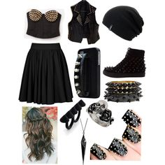 """""""Goth girl outfit"""" by hayleycavanaugh on Polyvore"""