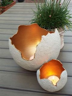 - 16 DIY Garden Decor Ideas Which Are Easy To Do These decorative concrete pots can be used for small plants or herbs, or spray the inside with Rust-Oleum Metallics, pop in a candle, and add unique lighting to your next outdoor event. Cement Garden, Cement Art, Water Garden, Concrete Pots, Concrete Crafts, Candle Holder Decor, Backyard Lighting, Unique Lighting, Lighting Ideas