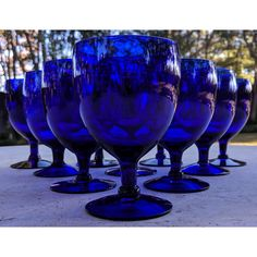 Cobalt Glass, Cobalt Blue, Navy Blue, Kitchen Items, Kitchen Stuff, Hand Painted Wine Glasses, Ship Art, Dinner Parties, Modern Materials