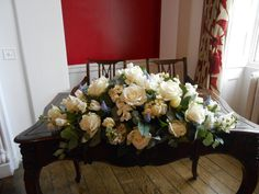 Top Table/ Ceremony Table Display of Roses, Tulips, Freesia and Muscari