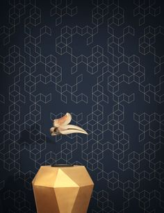 Feathr Wallpaper range available from £89 per roll. A modern minimalist geometric wallpaper design, inspired by vintage tiles. Available in four colour ways