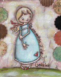 "Original Mixed Media Girl with Heart Painting by Diane Duda ""Genuine"" ©dianeduda/dudadaze"