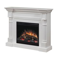 Lowest price on Dimplex Winston White Mantel Electric Fireplace With Logs Shop today! Dimplex Fireplace, Dimplex Electric Fireplace, Tv Above Fireplace, Fireplace Built Ins, Shiplap Fireplace, Small Fireplace, Concrete Fireplace, Marble Fireplaces, Modern Fireplace