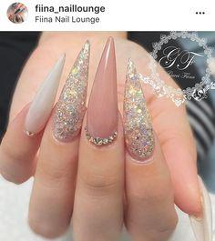 Glitter Stiletto Wedding Prom Birthday Pastel Pink Rose Gold Acrylic Nails Follow: @fiina_naillounge