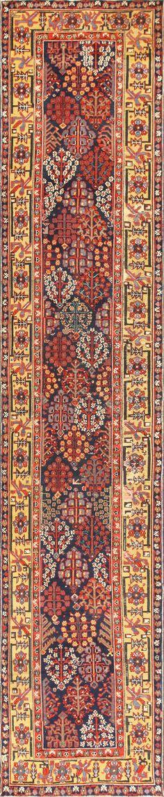 Early Antique Tribal Kurdish Shrub Design Runner Rug 48928