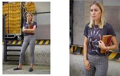 BAND-SHIRT TRIFFT KARO-HOSE. Tanja Trutschnig von Blogger Bazaar im lässigen street style. #bloggerbazaar #mcm #streetstyle