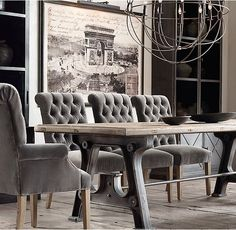 RH's Factory Trestle Rectangular Dining Table:Our table's ...