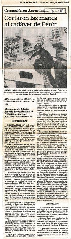 Cortaron las manos al cadáver de Perón. 03 de julio de 1987.