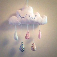 Mobile doudou nuage à accrocher pour bébé. : Jeux, peluches, doudous par djuhne
