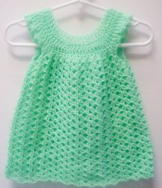 Crocheted Mint Green Baby Dress Pinafore Infant Girl by RaeOfLight, $19.95