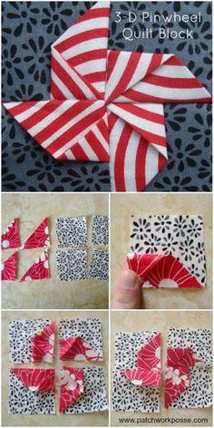 3 d pinwheel quilt block tutorial – learn how to make it! Great for adding dimen… 3 d pinwheel quilt block tutorial – learn how to make it! Great for adding dimension to kid quilts. Pin: 700 x 1400 Quilting Tutorials, Quilting Projects, Quilting Designs, Quilting Ideas, Sewing Tutorials, Sewing Projects, Quilt Block Patterns, Pattern Blocks, Block Quilt