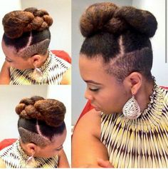 Undercut updo Short Shaved Hairstyles, Undercut Hairstyles Women, African Hairstyles, Pixie Hairstyles, Undercut Natural Hair, Natural Hair Tips, Natural Hair Styles, Short Hair Styles, African American Braid Styles