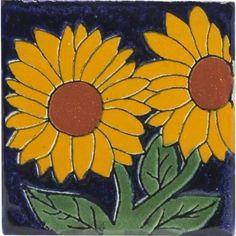 Sunflower 6 x 6 Talavera Mexican Tile for centerpiece Beach Kitchen Decor, Mexican Kitchen Decor, Genius Ideas, Pottery Supplies, Mexican Ceramics, Clay Tiles, Floating, Sgraffito, Ceramic Decor