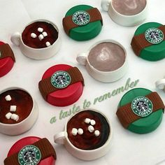 Starbucks inspired chocolate covered Oreos.  Lattes and Hot Chocolate mugs.
