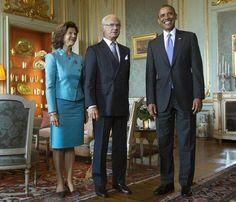 Los Reyes Carlos XVI Gustavo de Suecia con el presidente de EE.UU el 5 de Septiembre de 2013.