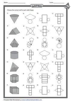 Solid Shapes Worksheets - Solid net and Shapes -