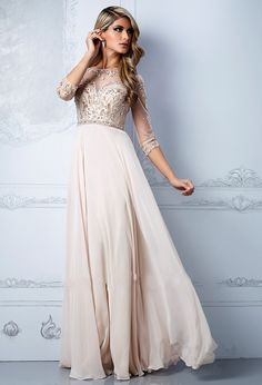 Find More Evening Dresses Information about 2014 New Arrival Beige Long Chiffon Party Formal Gown Beading See Through Sheer Prom Dresses 3/4 Sleeves Long Evening Dresses,High Quality dresses inexpensive,China dress catsuit Suppliers, Cheap dress coats for girls from Mr Zhu Weddings & Events Dresses Co., Ltd on Aliexpress.com
