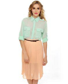 Obey Sunset Pleated Peach Midi Skirt #lovelulus