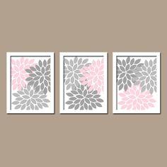 Pink Gray Nursery Baby Girl Nursery Wall Art Girl by TRMdesign