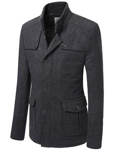 Mens Wool Coat with Zipper Point (CMOCO026)