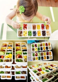 Introduce a variety of foods with an ice cube tray lunch -- fun to talk about colors, shapes, etc with a preschooler #lunch #backtoschool