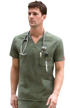 This Men& V-neck top from Dickies Everyday Scrubs Signature collection has classic styling with useful details, including a double chest pocket with self strapping and a D-ring. There are also pa. Doctor White Coat, Doctor Coat, Hot Doctor, Staff Uniforms, Medical Uniforms, Scrubs Uniform, Men In Uniform, Medical Scrubs, Scrub Tops