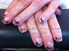 Silver glitter with red glitter. New Years Nail Art, Black Nail Art, New Year's Nails, Silver Glitter, Acrylic Nails, Nail Designs, Make Up, Costume, Hair