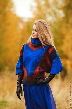 """Купить Куртка валяная """"Геометрия"""" - разноцветный, абстрактный, куртка, куртка женская, курточка, пончо"""