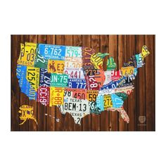 License Plate Map of The United States on Pine Stretched Canvas Print - 65% off today! Use code VETERANDAY13 to save big.