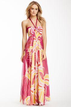 Printed Silk Overlay Halter Maxi Dress on HauteLook
