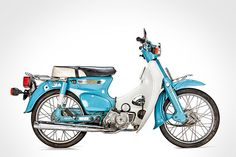 1950's Honda Super Cub. This small engine motor bike, in continuous production since 1958 played an integral part in restoring the post war Japanese economy. Over 60 Million have been manufactured since then.