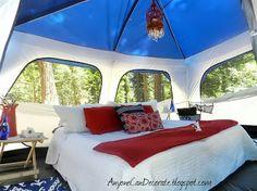 DIY Glamping Trip. Now that's my kinda camping ;)