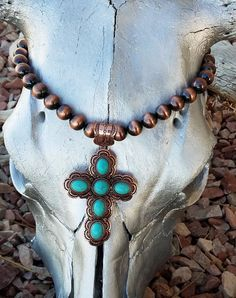 Cowgirl Christian Copper CROSS NECKLACE Faux Turquoise Southwestern Gypsy set #baharanch
