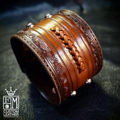 Leather cuff bracelet Classic Old West by MataraCustomLeather