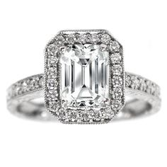 Emerald Cut Diamond Halo Engagement Ring Vintage