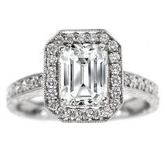 Emerald Cut Diamond Halo Engagement Ring Vintage