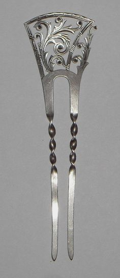 ANTIQUE VICTORIAN EDWARDIAN Ornate Reticulated VTG STERLING SILVER HAIR COMB